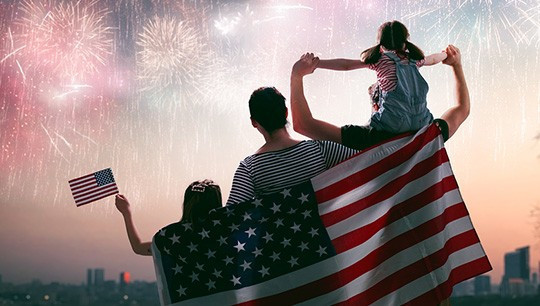 family with fireworks